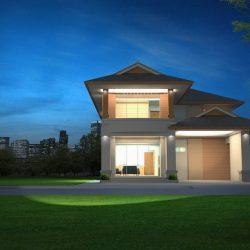 Tijdens de nacht verlicht huis