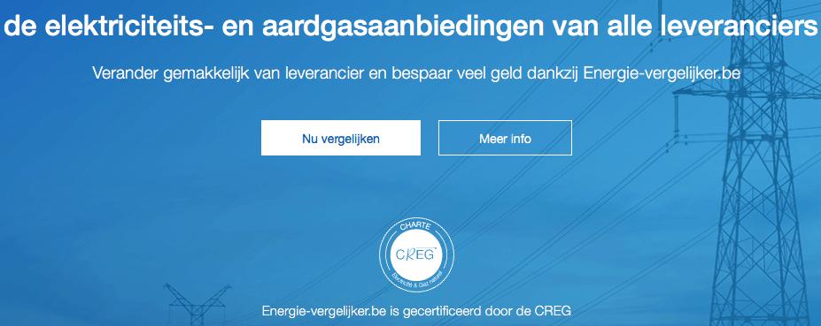 Overzicht van de homepage van de internet website Energie-vergelijker.be