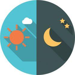 Verdeling van de dag in twee delen: het dagtarief en het nachttarief