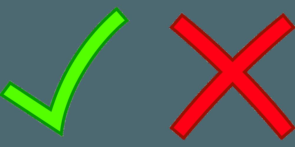 Groen vinkje en rood kruis